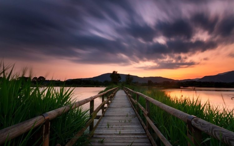 Pathway with lake and overcast sky in background